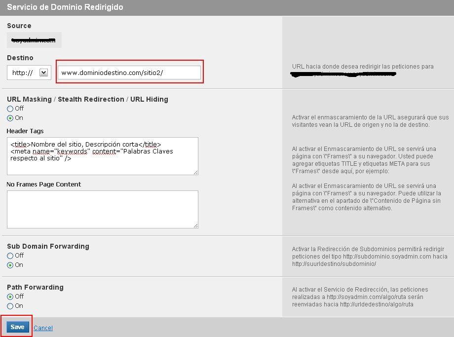 Guías y Manuales :: Como configurar un redireccionamiento Web?